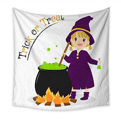 Anniutwo Modern Art Tapestry Cute Witch Holding a Potion Bottle Halloween Cartoon Vector Beach Throw Tapestry 70W x 70L Inch