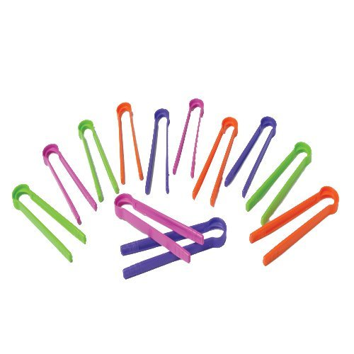 Children's Colored Squeezer Tweezers Set of 12