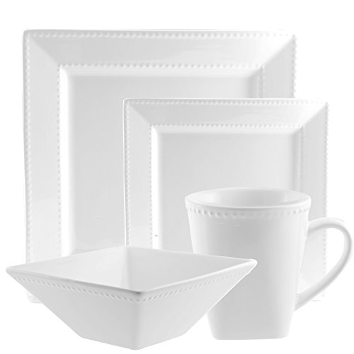 10 Strawberry Street Beaded Square 16 Piece Dinnerware Set, White (White Square Dinnerware Sets)