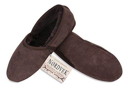 Nordvek Premium Mens Dubbla Inför Fårskinn Tofflor Med Mjuk Mockasula # 461-100 Choklad