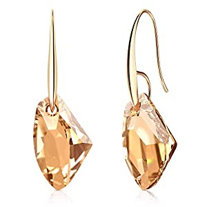 Hypoallergenic Earrings with Gold Swarovski Crystals for Women | Gold and 14k Real Gold Plating | Dangle Drop Jewelry
