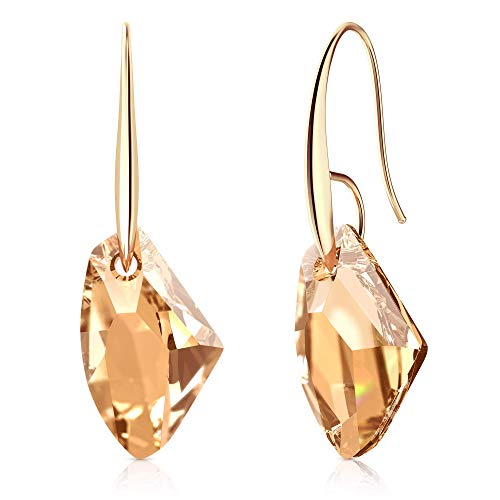Swarovski Ring Golden - Lola says... Earrings Made with Swarovski Golden Shadow Crystals | Hypoallergenic 14k Gold Plated Hooks | Dangle Drop Jewelry for Women with Sensitive Ears |❤️ Perfect Packaging