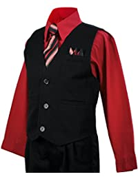 Boys Vest Suit Pinstripe Red Shirt Outfit Size 7