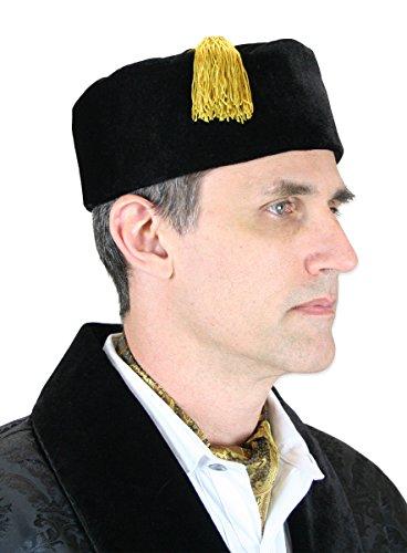 - Historical Emporium Men's Velvet Quilted Smoking Cap L Black