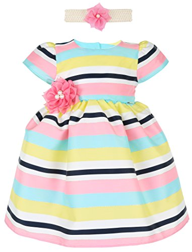 Lilax Little Girls' Colorful Stripe Princess Pageant Easter Dress Gown with Headband 3T Pink