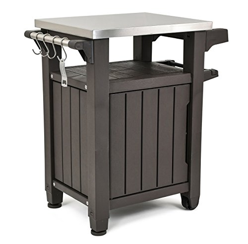 (Keter Unity Indoor Outdoor BBQ Entertainment Storage Table/Prep Station with Metal Top, Brown)