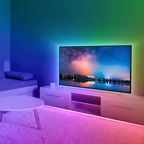 ONSTUY LED Strip 5m,RGB LED Streifen,Farbwechsel LED Band mit IR Fernbedienung,AC 220V-240V SMD 5050 RGB LED Leiste,für die Schlafzimmer,Beleuchtung und Dekorative von Haus, Party, Küche