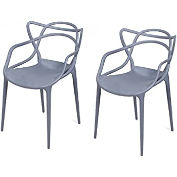Adeco Polypropylene Hard Plastic Dining Chairs, Intertwine Living Dining  Room Set Of 2, Grey
