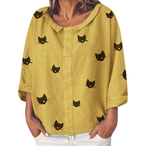 (Women Casual Sweet Printed Animal Blouses Special Neck Shirt Sunscreen Tops)