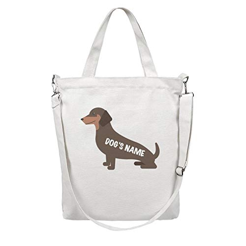Heavy Duty and Strong Dog Owner Gift Dachshund Add Dog's Name Wiener Dog Gift Large Natural Canvas Tote Bags for Crafts, Shopping, Groceries, Books, Welcome Bag, Diaper Bag, Beach, and Much More!
