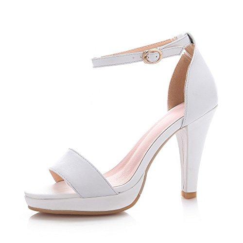 AalarDom Womens Open Toe Spikes Stilettos Buckle Solid Sandals White FQ8kUBW