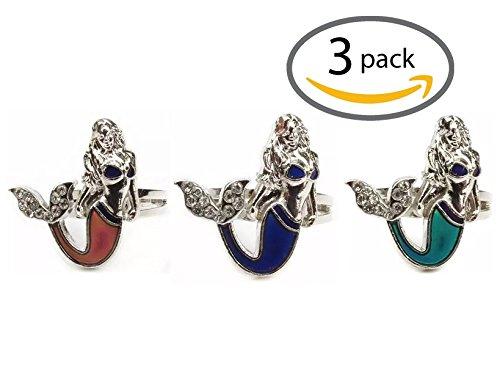 [3 Pack of Mermaid Mood Rings by Groovy Energy] (Cute Hippie Costumes Women)