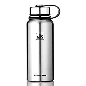 KXP Vacuum Insulated Stainless Steel Water Bottle, Wide Mouth Travel Cycling Hiking Sports Water bottle Silver 50oz