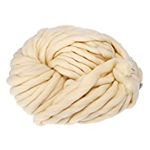Huayang| Icelandic Yarn 260G Super Thickness Simply Soft Roving Yarn Bulky Chunky Bonbons Yarn Spinning Hand DIY Knitting for Baby Assorted Colors-- 100% Acrylic Beige