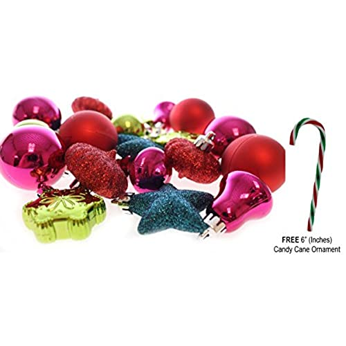 holiday time 20 mini shatterproof christmas ball decoration with free 6 candy cane ornament red pink teal green comes with free how to live stress free - Teal And Red Christmas Decorations