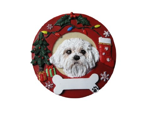 - Maltese Puppycut Christmas Ornament Wreath Shaped Easily Personalized Holiday Decoration Unique Maltese  Lover Gifts