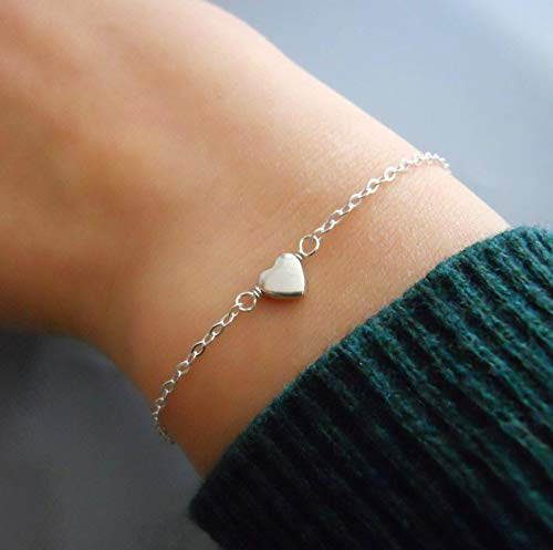 Handmade Dainty Thin Sterling Silver Heart Charm Bracelet