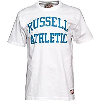 Mens Russell Athletic Arch Logo T-Shirt White Guys Gents (XX-Large Chest a8ef355bb7648