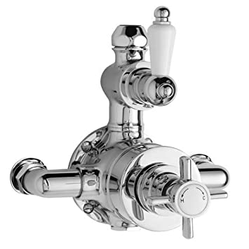 chrome traditional twin exposed bathroom shower faucet valve