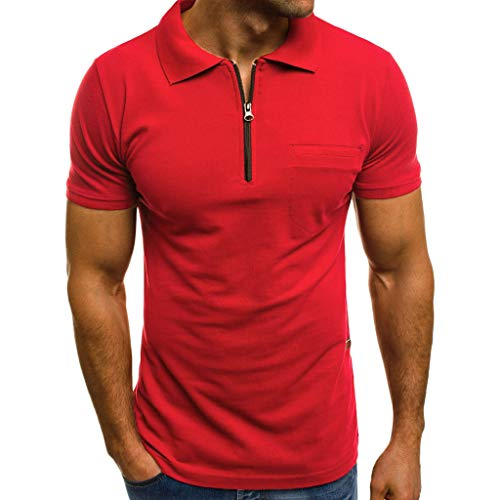 Mnyycxen Men Casual Short Sleeve Polo Shirts Slim Fit Zipper Polo T Shirts Henley Golf Shirts with Pocket Red (Golf Polo Cricket Shirt)