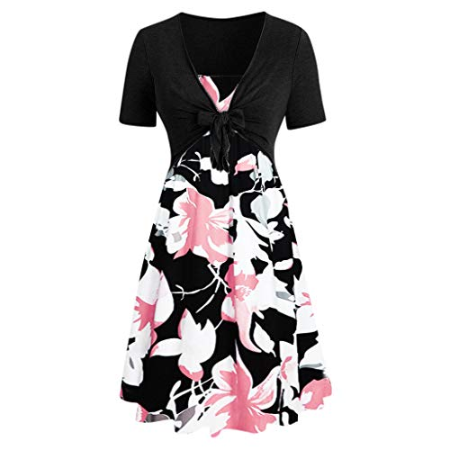 ZSBAYU Elegant Women's Dresses, Casual Solid Vintage Lace Print Floral Bow Short Sleeve Slim Rock Cocktail Midi Dress(Pink,XXXL) (Best Pakistani Designers 2019)