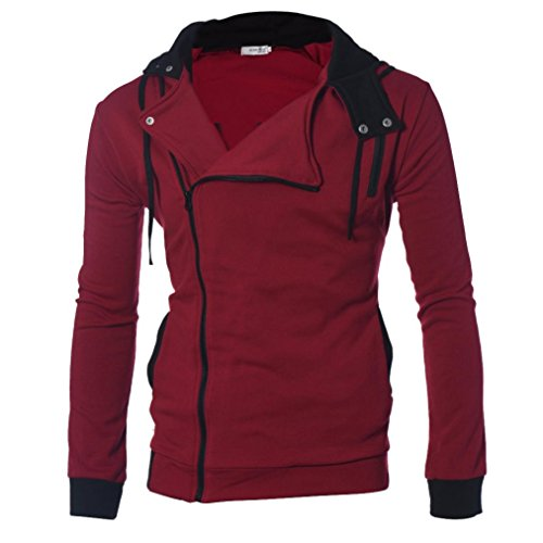[XUANOU Men's Individuality Zip Hooded Sweatshirt Coats Jacket Outwear (X-large, Red)] (Red Coat Army Costume)