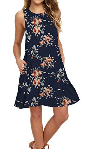 AUSELILY Women's Sleeveless Pockets Casual Swing T-Shirt Dresses (XL, Rose Navy) (Sundress Sleeveless Dress)