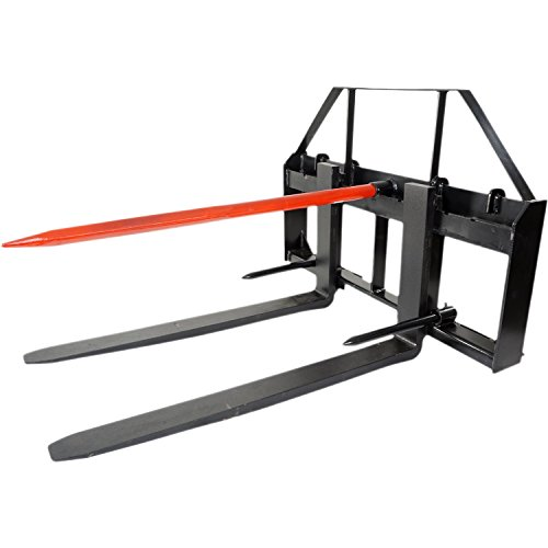Titan 48'' Skid Steer Pallet Fork Attachment w/49'' Bale Spear & 2 Stabilizers by Titan Attachments
