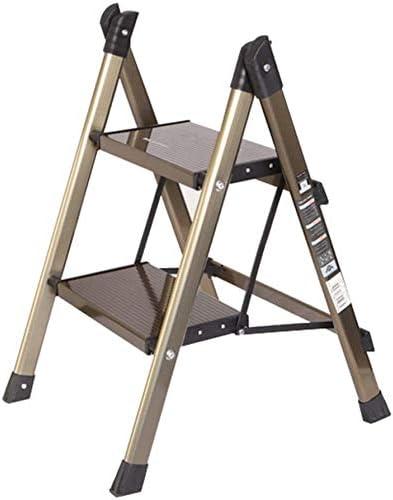 Taburete con escalera Aleación de aluminio Diseño de pasamanos multifunción plegable Conjunto completo Espesar escalada, escalera de 2, 3 peldaños de doble uso (Color: dorado, tamaño: A-47x49x64cm): Amazon.es: Hogar