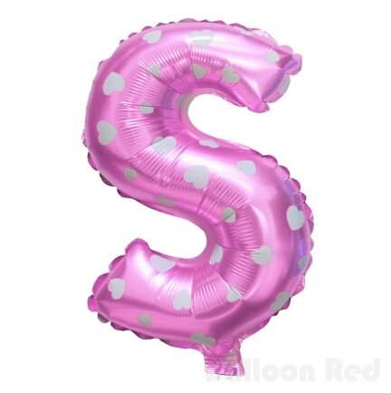 16 Inch Foil Mylar Balloons for Party Wall Decoration (Premium Quality, Non-Floatable), Rose Red, Letter S