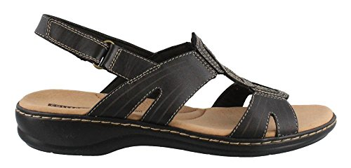 CLARKS Women's Leisa Vine Platform, Black Leather, 7.5 Medium US by CLARKS