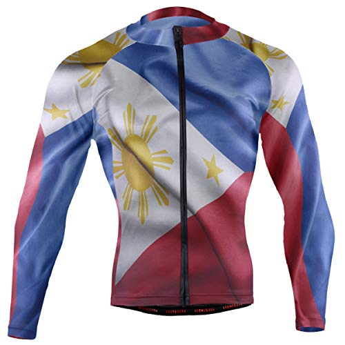 (Philippines Flag Men's Cycling Jersey Long Sleeve Bike Jacket Biking Bicycle Jersey Shirt)