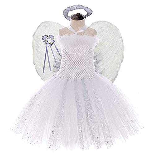 Girls Tooth Fairy Costume with Wings Halloween Princess Dress Up 4PCS Sets -