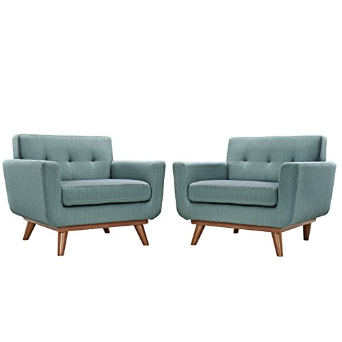Modway Engage Mid-Century Modern Upholstered Leather Two Armchair Set in - Upholstery Lexington Collection