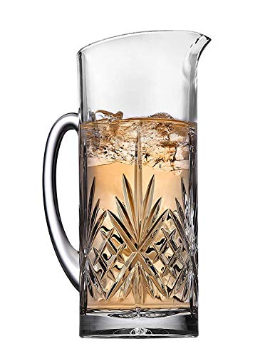 Crystal Martini Pitcher with Handle, for Water, Ice Tea, Juice, Fruit Punch and Beverages - 34 Ounce Iced Tea Glass Pitcher