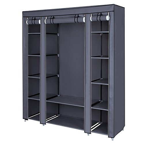 "SONGMICS 59"" Closet Organizer Wardrobe Closet Portable Closet shelves, Closet Storage Organizer with Non-woven Fabric, Quick and Easy to Assemble, Extra Strong and Durable, Gray ULSF03G"