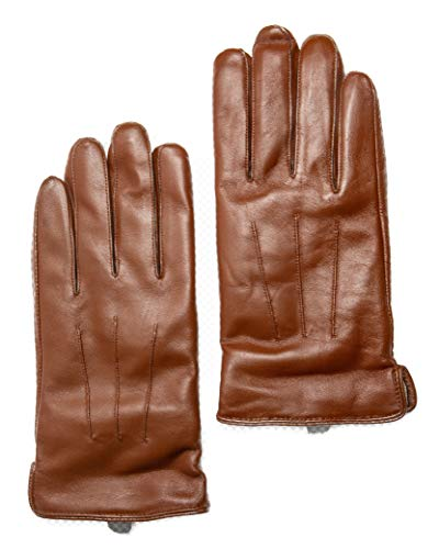 - Men's Touchscreen Cashmere Lined Leather Gloves, Gift Box by CANDOR AND CLASS (Tan XL)