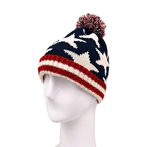 Star American Flag (TrendsBlue Premium Unisex Warm Knit USA American Flag Style Beanie Hat,)