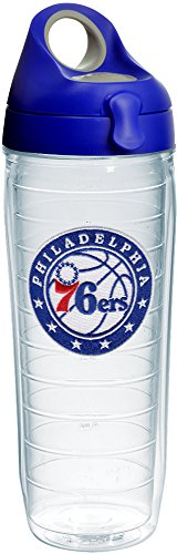 Tervis 1231831 NBA Philadelphia 76ers Circle With Stars Tumbler with Emblem and Blue with Gray Lid 24oz Water Bottle, Clear by Tervis