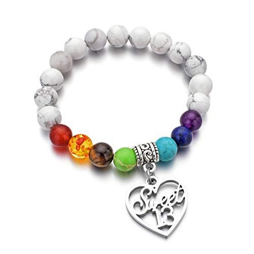 DYJELWD Birthday Bracelet 7 Chakra Beads Stretch Healing Bracelet 10th 12th 13th 16th 18th 21th 30th 40th 50th 60th (13th Birthday - Birthday 13th Gift