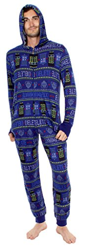 Doctor Who Exterminate Adult Navy One Piece Pajama Onesie Jumpsuit (Adult Large)