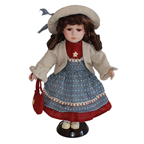 Prettyia Birthday Gift - 30cm Excellent Workmanship Doll DIY Accessory Vintage Porcelain Lady Girl Doll in Blue Dress with Display Stand