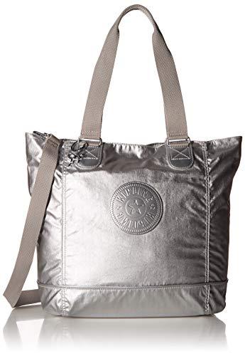 (Kipling womens Shopper Combo Tote Bag,  Platinum Metallic, One Size)