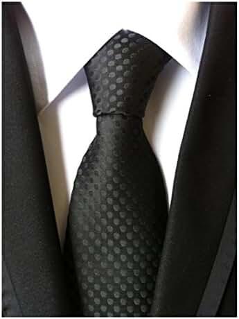 MENDENG Classic Polka Dot Black Red Blue Jacquard Woven Silk Men's Tie Necktie