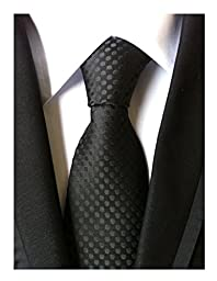MENDENG Classic Polka Dot Black Red Blue Jacquard Woven Silk Men\'s Tie Necktie