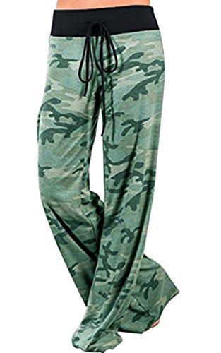 JOXJOZ Women's High Waist Wide Leg Pants Long Comfy Baggy Lounge Pajama Pants (L, (Waist Wide Leg Pants)