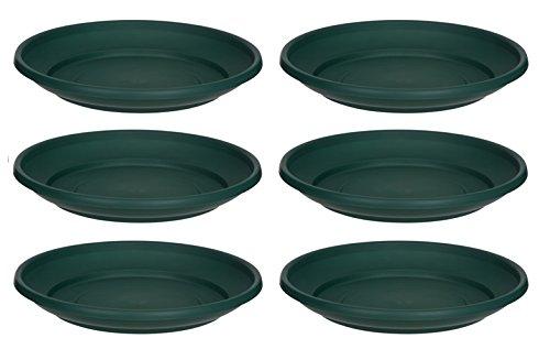 6 x Green Plastic Plant Pot Saucer 20cm Saucer Whitefurze