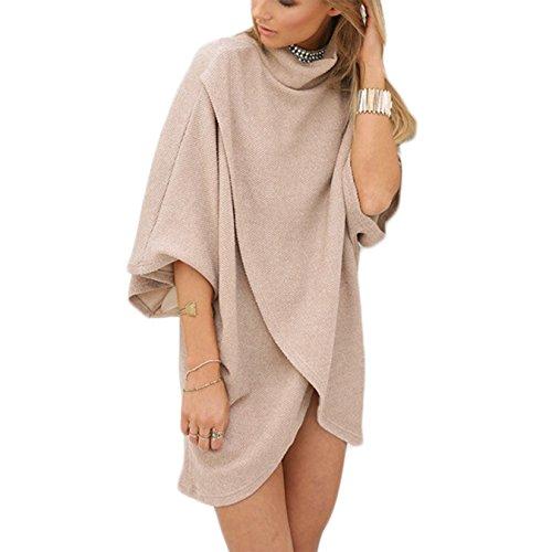 Damen T-shirt Blusen Volltonfarbe Irregular 3/4-Arm Hohe-Ausschnitt Frauen Minikleid Oberteile Tops