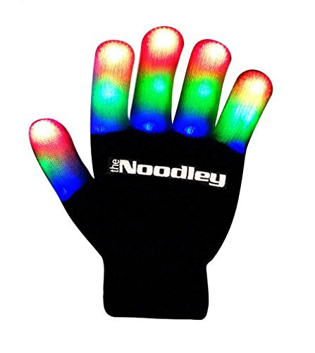 The Noodley's Children LED Finger Light Gloves Small Black with Extra Batteries Super Bright LEDs Red, Green, and Blue