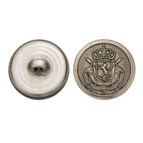 C&C Metal Products 5289 Royal Crest Metal Button, Size 33 Ligne, Antique Nickel, 36-Pack by C&C Metal Products Corp